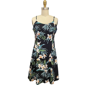 Ginger Orchid Black Spaghetti Dress