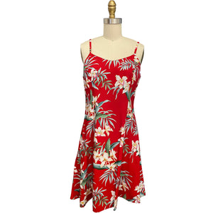 Ginger Orchid Red Spaghetti Dress