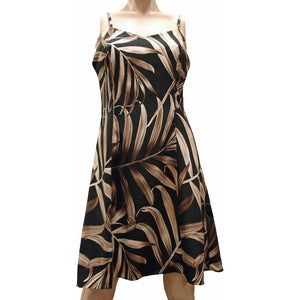 Islander Fronds Black Spaghetti Dress