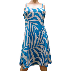 Islander Fronds Blue Spaghetti Dress