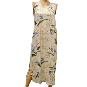 Bamboo Paradise Cream Long Tank Dress