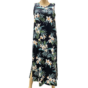 Ginger Orchid Black Long Tank Dress