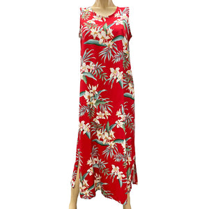 Ginger Orchid Red Long Tank Dress
