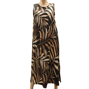 Islander Fronds Black Long Tank Dress