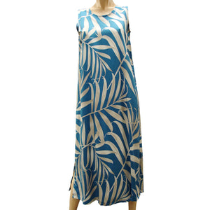 Islander Fronds Blue Long Tank Dress