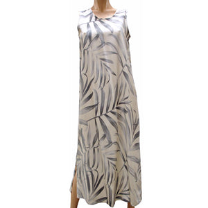 Islander Fronds Cream Long Tank Dress