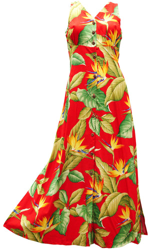 Airbrush Bird of Paradise Red Button Front Tank Dress