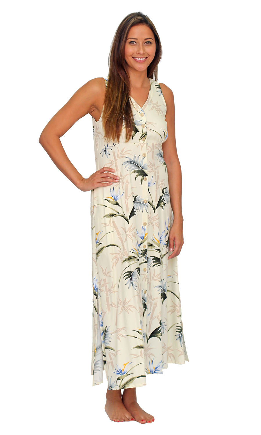 Bamboo Paradise Cream Button Front Tank Dress
