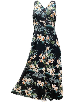 Ginger Orchid Black Button Front Tank Dress