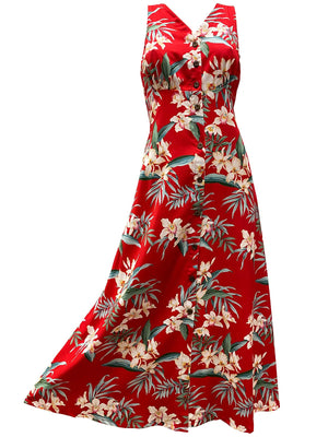 Ginger Orchid Red Button Front Tank Dress