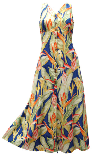 Heliconia Heaven Blue Button Front Tank Dress