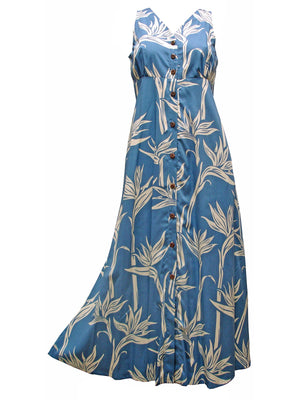 Pareau Paradise Blue Button Front Tank Dress