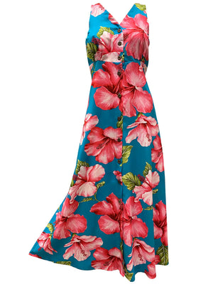 Super Hibiscus Teal Button Front Tank Dress