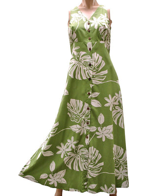 Tiare Fest Green Button Front Tank Dress