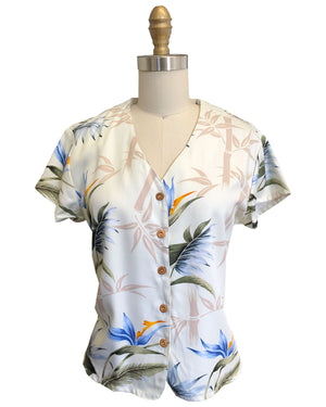 Ladies Bamboo Paradise Cream V-Neck Blouse