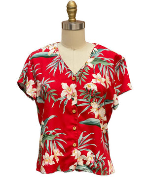 Ginger Orchid Red V-Neck Blouse