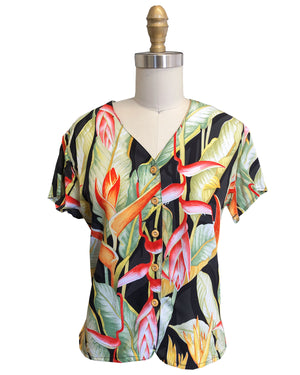 Ladies Heliconia Black V-Neck Blouse