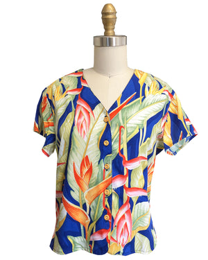 Ladies Heliconia Blue V-Neck Blouse