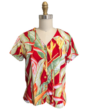 Ladies Heliconia Red V-Neck Blouse