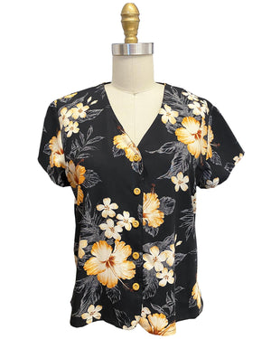 Ladies Hibiscus Resort Black V-Neck Blouse