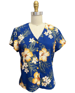 Ladies Hibiscus Resort Navy V-Neck Blouse