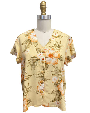 Ladies Hibiscus Resort Peach V-Neck Blouse