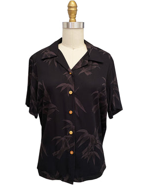 Women's Bamboo Garden Black Camp Shirt