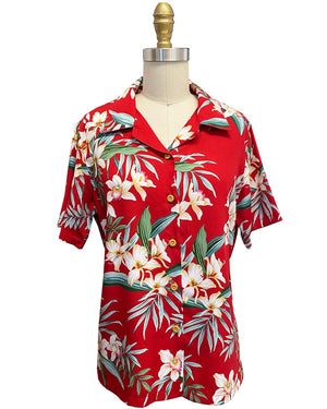 Women's Ginger Orchid Red Camp Shirt