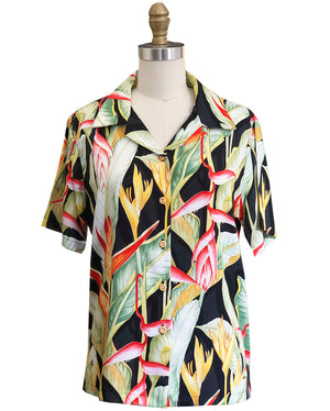 Women's Heliconia Heaven Black Camp Shirt