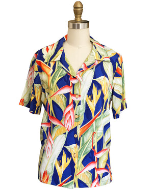 Women's Heliconia Heaven Blue Camp Shirt