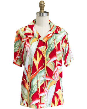 Women's Heliconia Heaven Red Camp Shirt