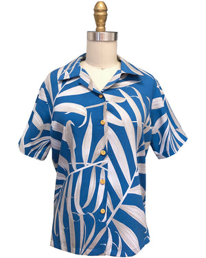 Women's Islander Fronds Blue Camp Shirt