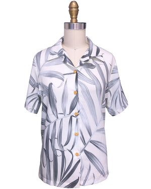 Women's Islander Fronds Cream Camp Shirt