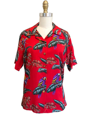"Women's Jungle Bird Red ""Magnum PI"" Camp Shirt"