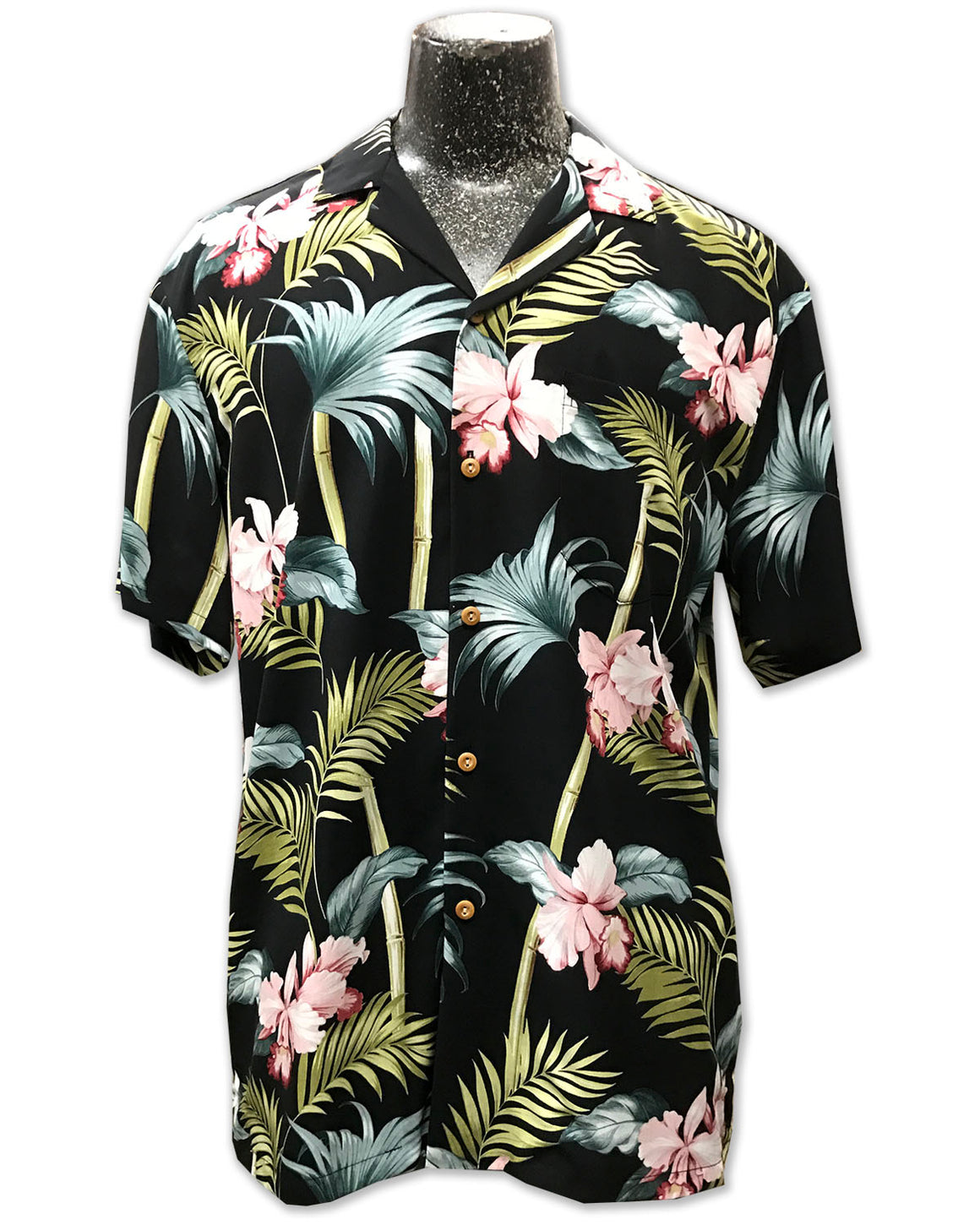 Bamboo Orchid Black Hawaiian Shirt