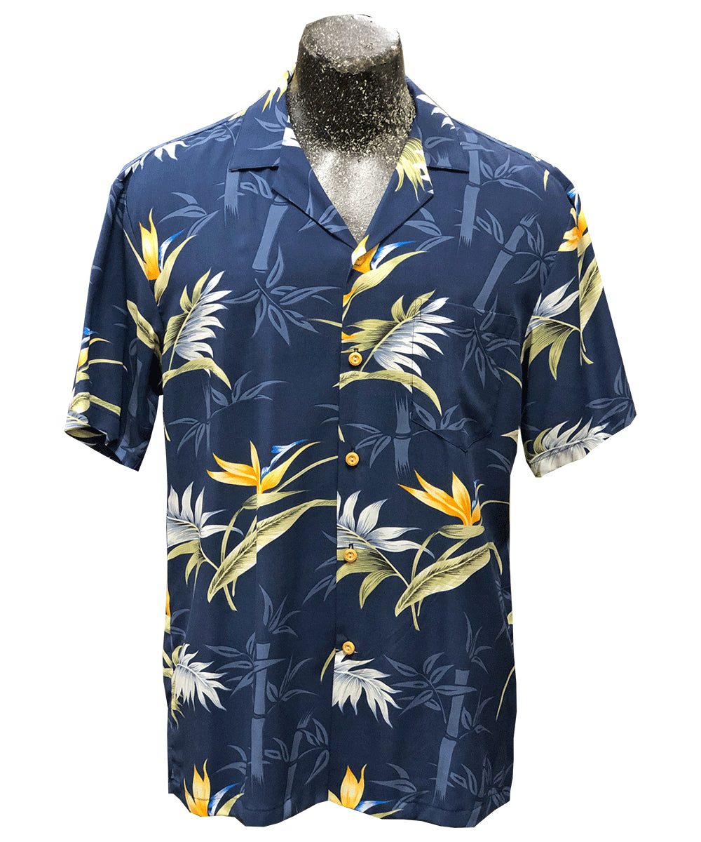 Bamboo Paradise Navy Hawaiian Shirt