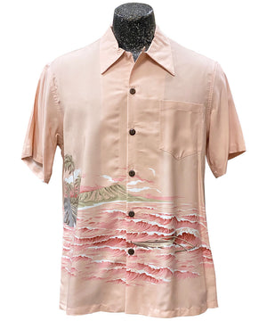 Diamond Head Canoe Coral Hawaiian Shirt