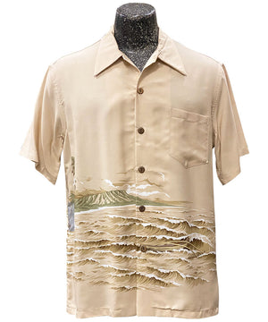 Diamond Head Canoe Khaki Hawaiian Shirt