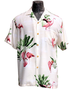 Flamingo Retreat Beige Hawaiian Shirt
