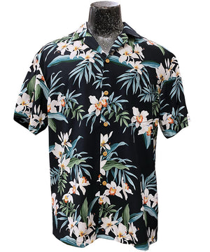 Ginger Orchid Black Hawaiian Shirt