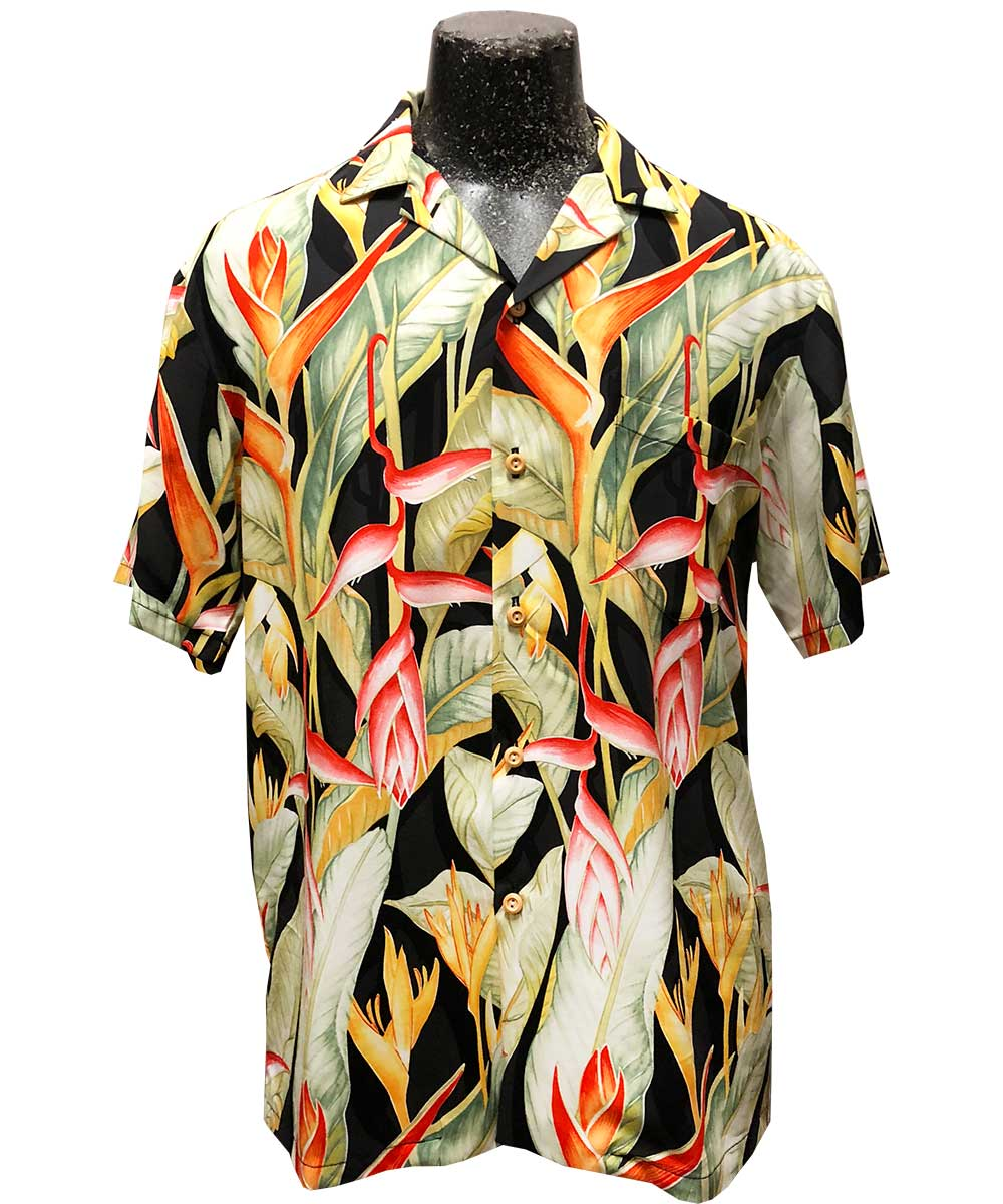 Heliconia Heaven Black Hawaiian Shirt