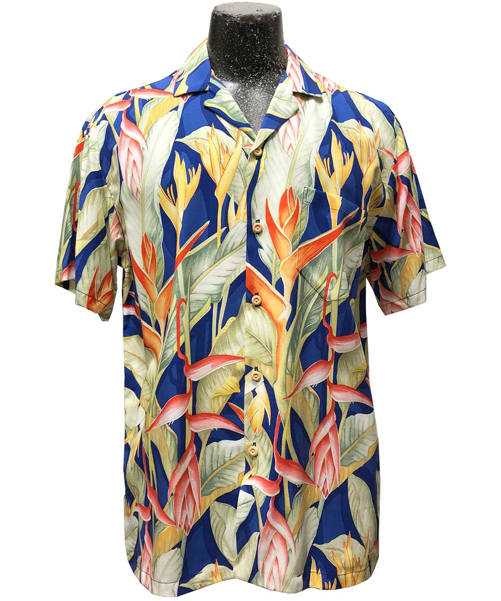 Heliconia Heaven Blue Hawaiian Shirt