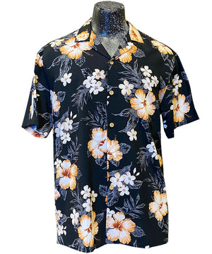 Hibiscus Resort Black Hawaiian Shirt