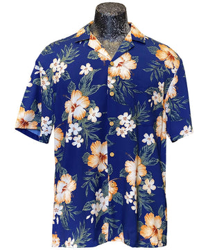 Hibiscus Resort Navy Hawaiian Shirt