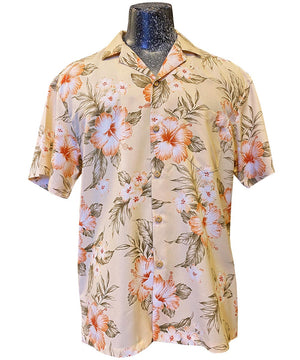 Hibiscus Resort Peach Hawaiian Shirt by Paradise Found