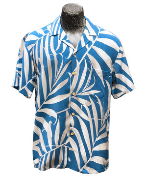 Islander Fronds Blue Hawaiian Shirt