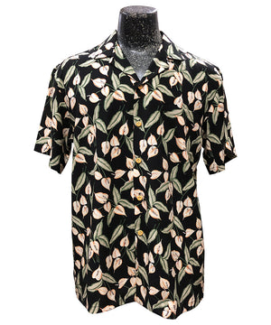 Mini Anthurium Black Hawaiian Shirt