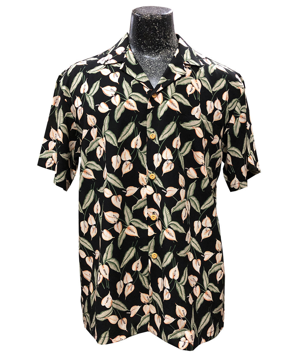 Magnum Anthurium Black Hawaiian Shirt