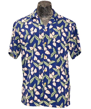Mini Anthurium (Magnum PI) Blue Hawaiian Shirt