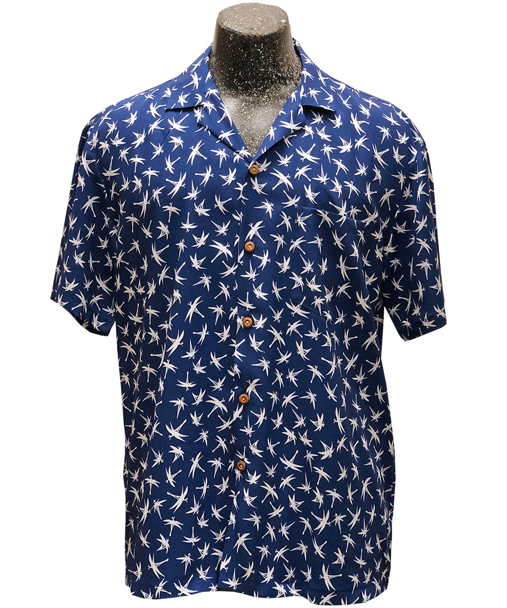 Midnight Bamboo Navy Hawaiian Shirt